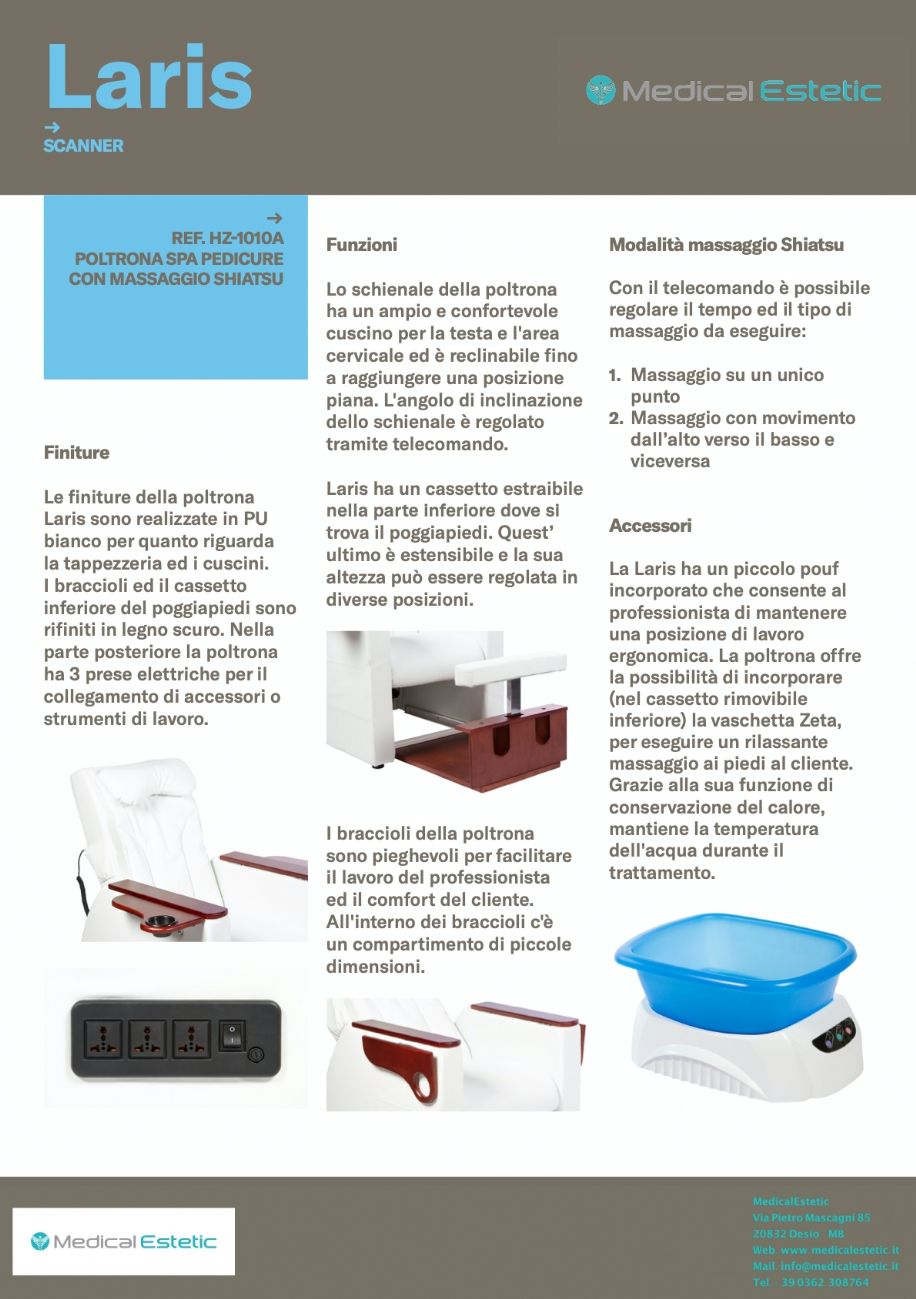 LARIS Poltrona pedicure SPA con massaggio shiatzu e sgabello integrato