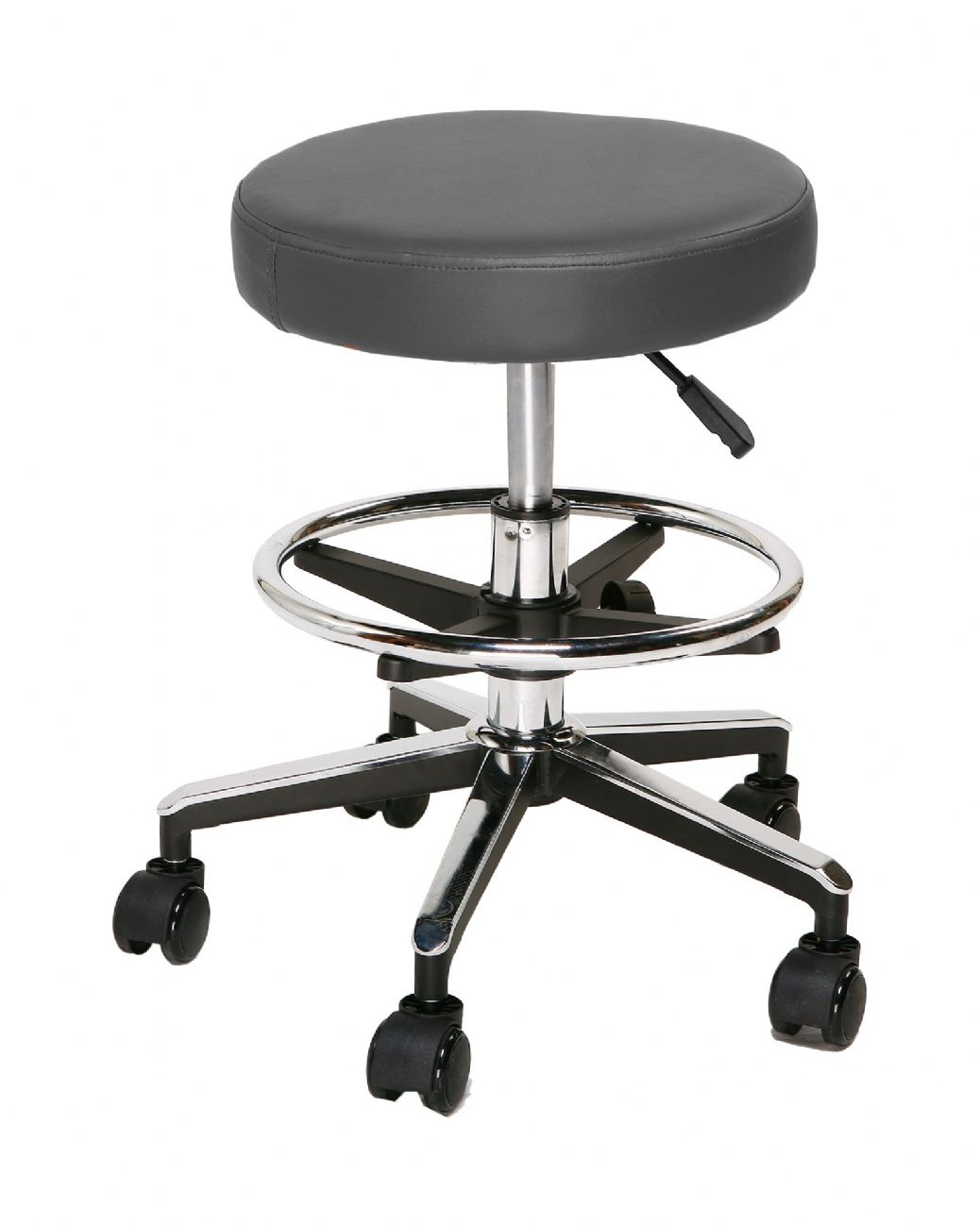 TRAG EASY Adjustable stool round base without backrest with footrest