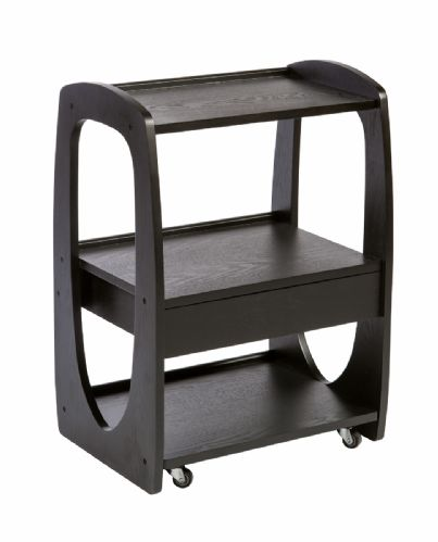 MICRO Trolley 3 wooden shelves black color