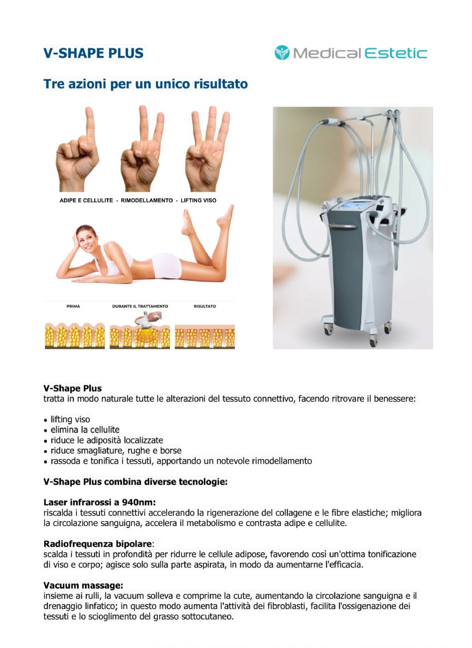 V Shape massagio endodermico 4 manipoli 6 testine + radiofrequenza 1Mhz